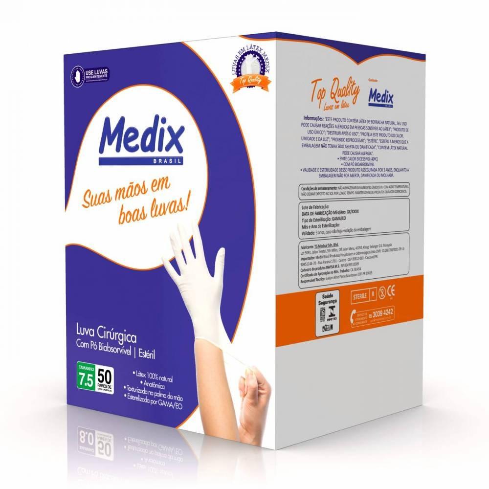Luva Cirúrgica Estéril 7,5 Com Talco Cx Com 50 Pares - Medix - R  89,90 em  Mercado Livre a722dd4a4c