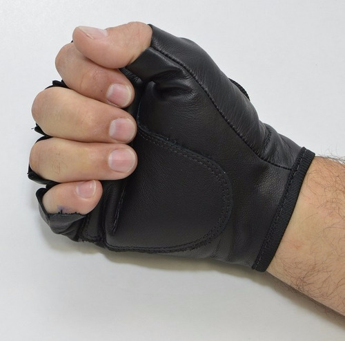 luva de couro legítimo meio dedo motociclista proteção .