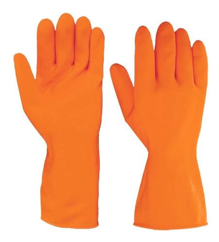 luva de látex emborrachada plus laranja media sanro