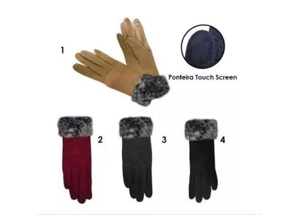 Luva Feminina Par Frio Inverno Touch Screen Celular Pom Pom - R  28 ... ef7c720d0199