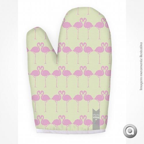 luva haus for fun flamingos e triângulos rosa e verde 19x27