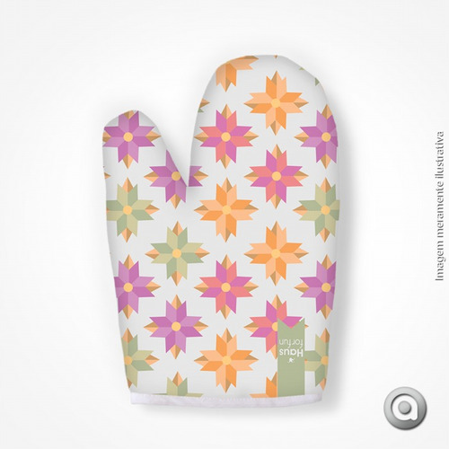 luva haus for fun flores geometricas coloridas 19x27