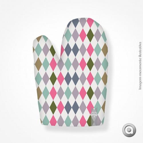 luva haus for fun triangulos rosas e verdes 19x27
