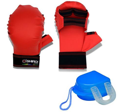 luva karate vermelha ou azul homologada cbk + bucal simples
