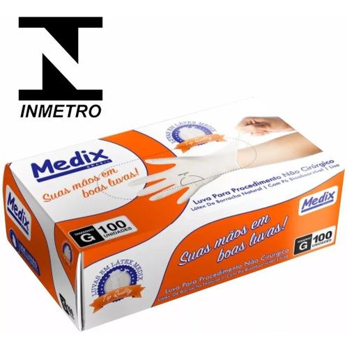 luva latex medix dpk procedimento box 7 caixas com 100 cada