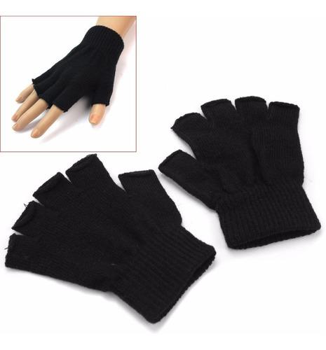 luva masculina de lã par de luva sem dedos luva preta de lã