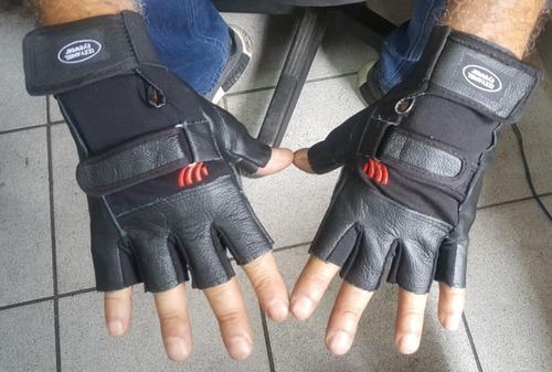 luva meio dedo de couro para motociclista