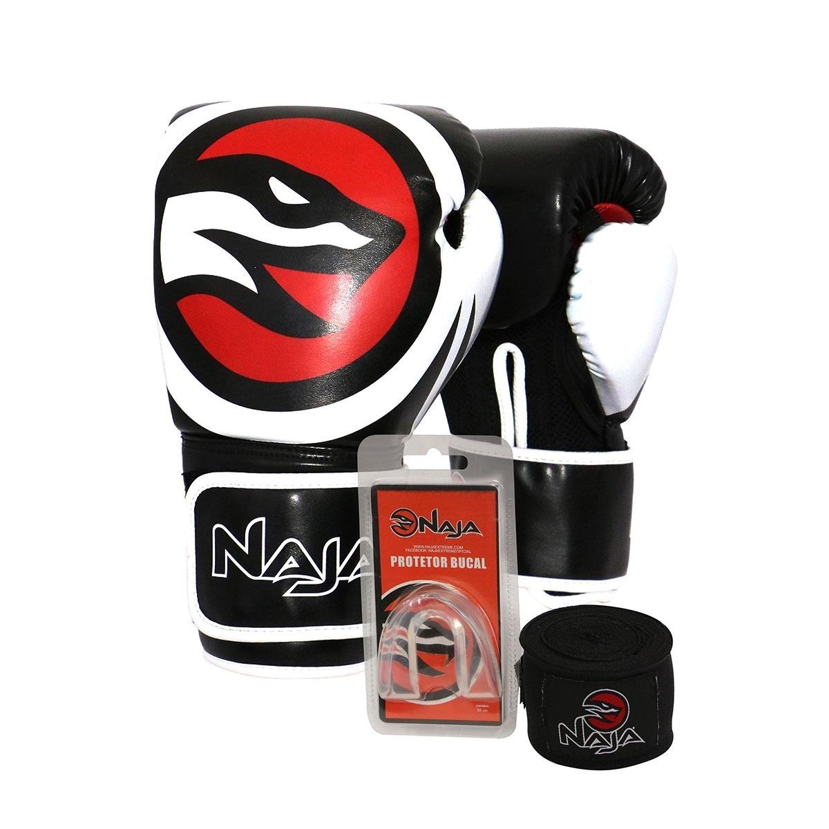 39e6a4a07 Kit Luva Muay Thai Boxe Naja - Band+prot.bucal + Luva Preto - R  120 ...