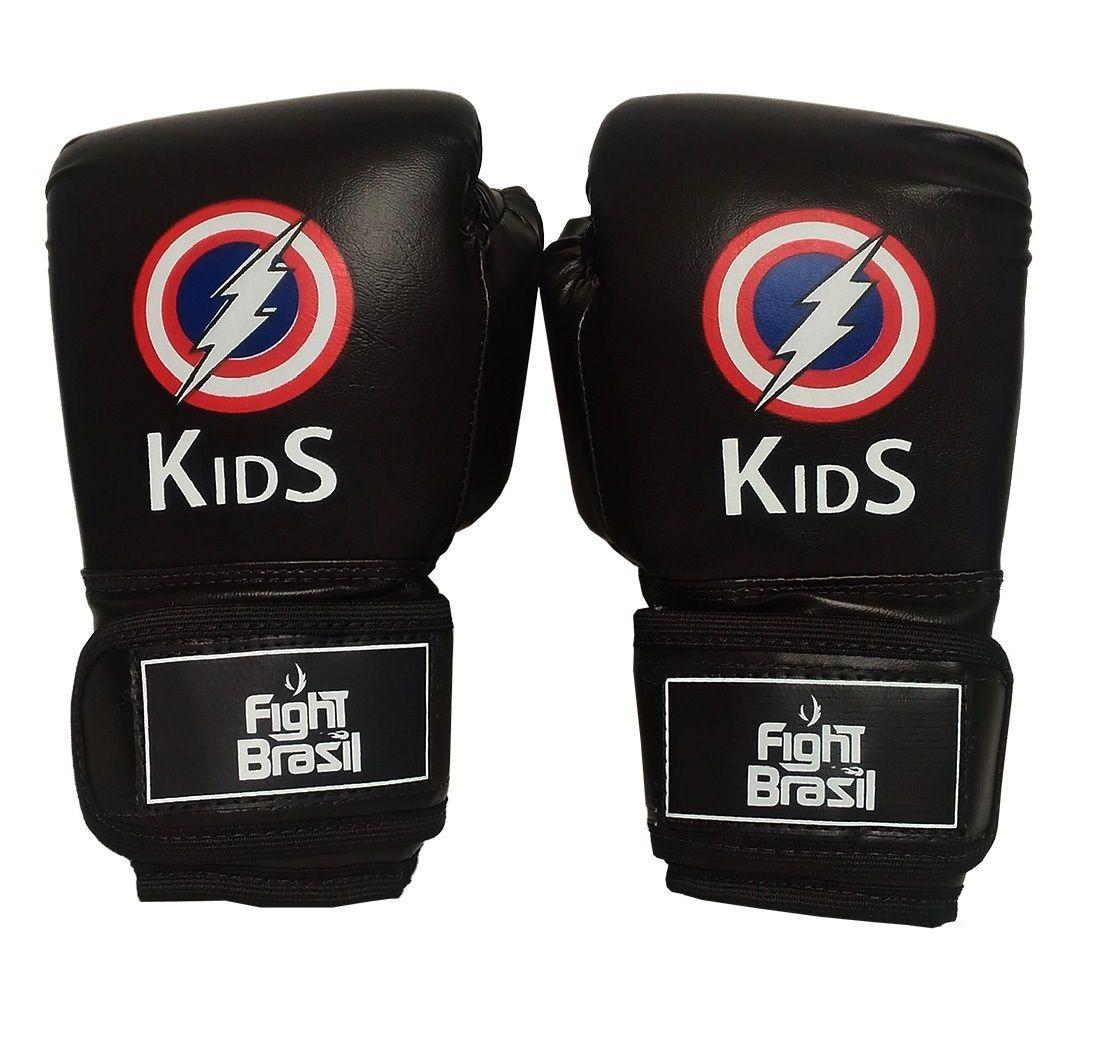 40bb67462 Luva Muay Thai Luva Boxe Infantil 4oz Kids Raio Fight Brasil - R  99 ...