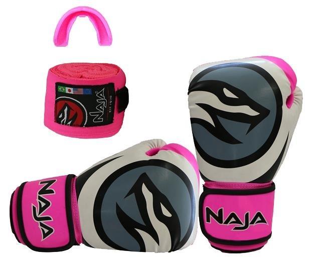 da65cae90 Luva Naja Colors Boxe Muay Thai Bandagem Bucal Rosa 14oz - R  150
