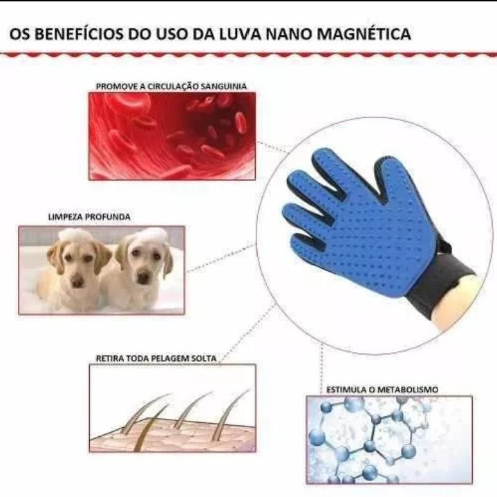 f7f1516be Luva Nano Magnética Tira Pelos Pets Cães Gatos True Touch Rs - R  55 ...