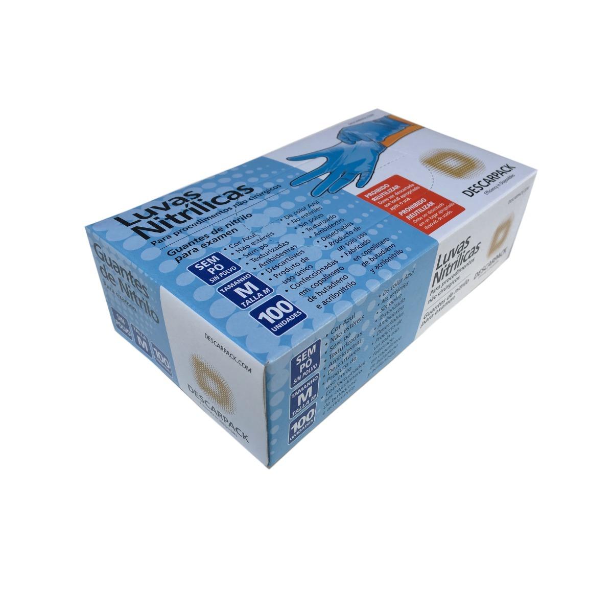 90301f1c255a2 luva nitrilica azul descarpack p m g - 10 caixinhas. Carregando zoom.