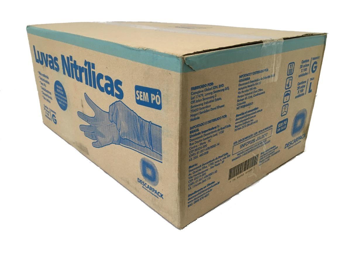 luva nitrilica azul s  talco tam m caixa com 10 - descarpack. Carregando  zoom. b6f43e3f9e