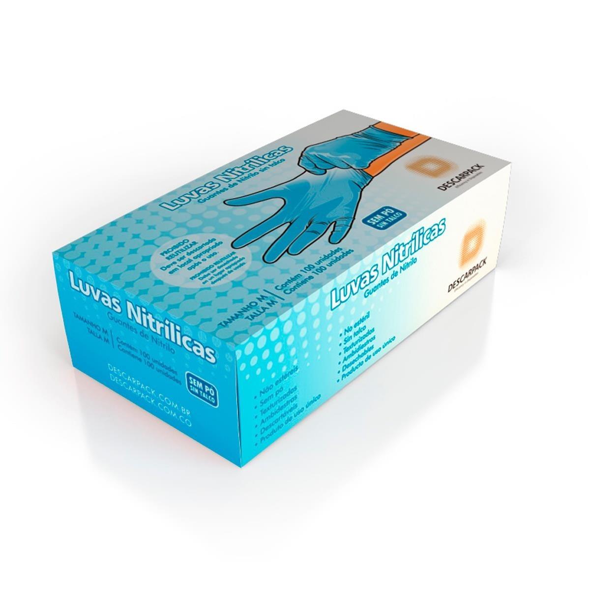 luva nitrilica azul s  talco tam p caixa com 10 - descarpack. Carregando  zoom. 07ec051bb9