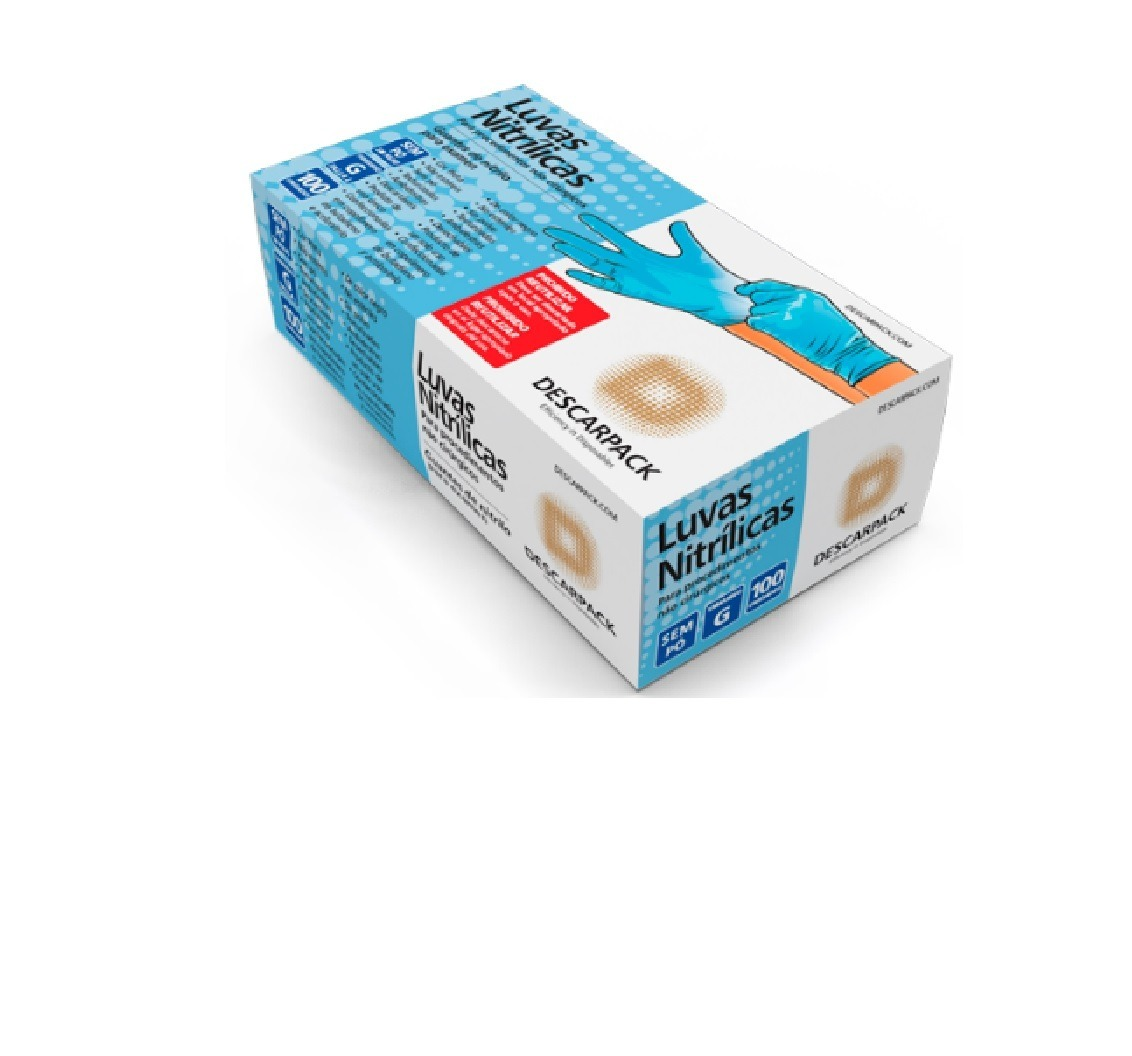 d34c6ad7d7bcc Luva Nitrilica Azul S talco Tam P M G Kit C 10cx - R  213,00 em ...
