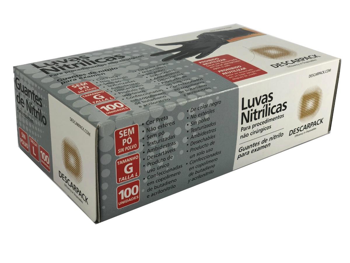 4307154c08050 luva nitrílica preta descarpack - caixa com 10 unidades. Carregando zoom.