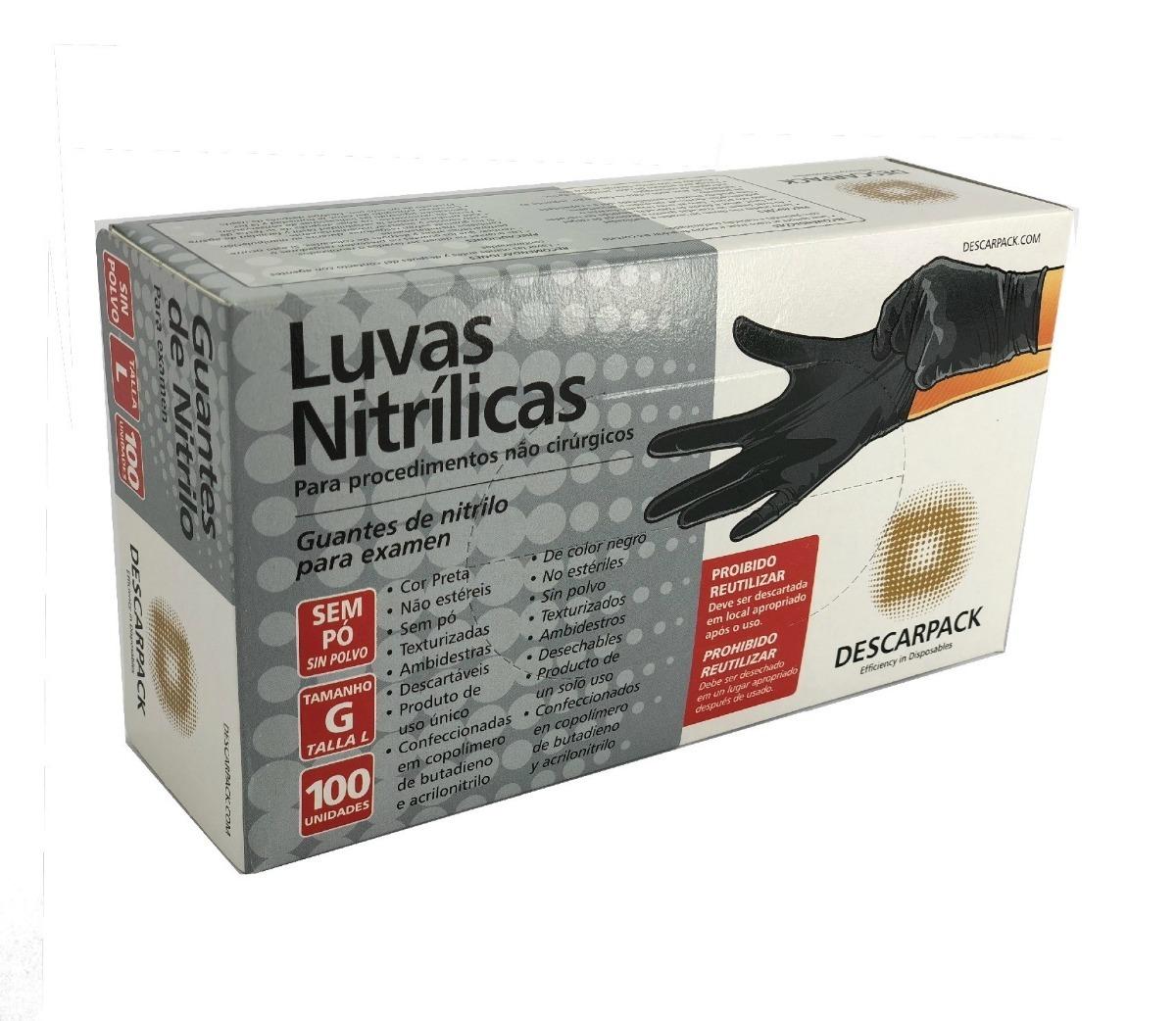 luva nitrílica sem pó descartável 100un - descarpack p, m, g. Carregando  zoom. ba2f4aa97a