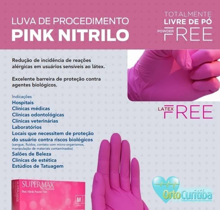 14bffee676d94 Luva Nitrilo Pink Pp,p,m E G Kit C 10 Frete Free - R  255,00 em Mercado  Livre