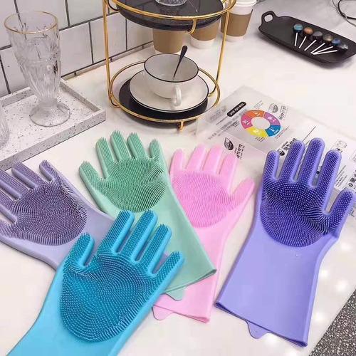 luva par magica escova limpeza silicone lavar louça prato
