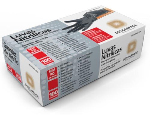 luva proced nitrilo preta descarpack tam m s/ pó cart c/100