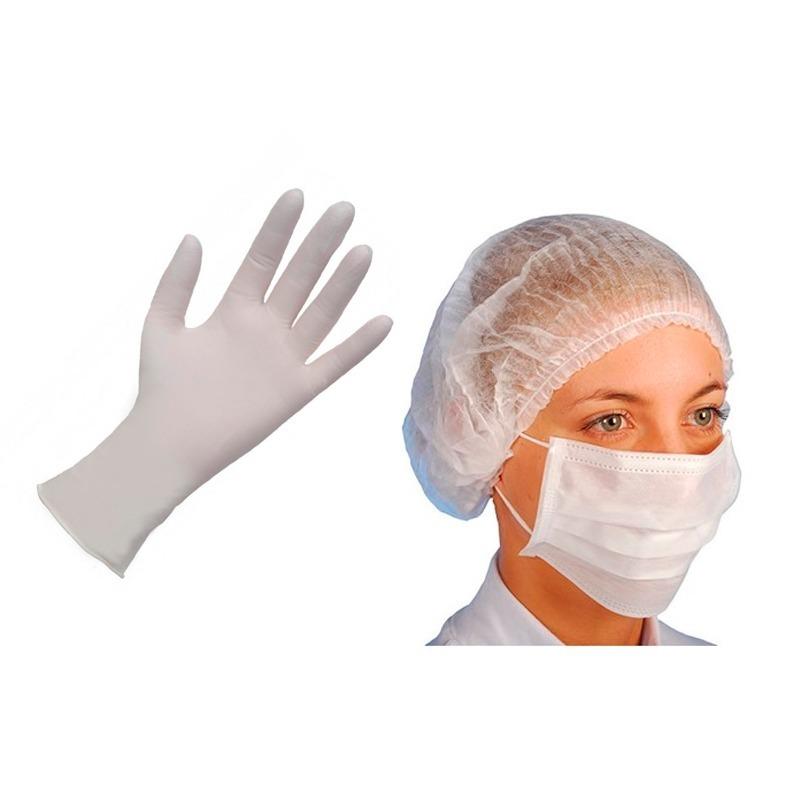 luva procedimento latex branca + mascara + touca branca c100. Carregando  zoom. f6ba958f86