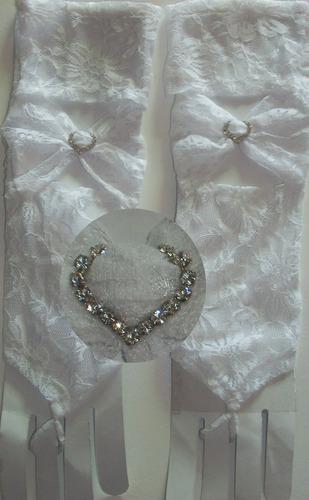 luva renda branca strass noivas debutantes festas mitene