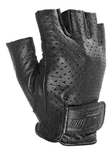 luva x11 air meio dedo preta couro