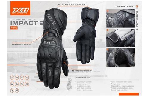 luva x11 impact 2 couro / poliéster c/ proteção cano longo