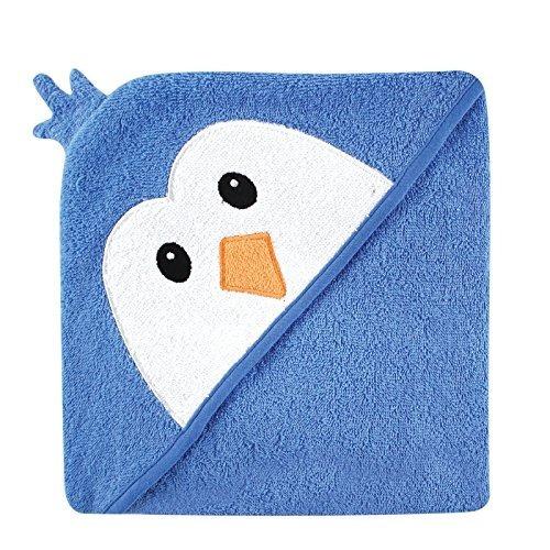 luvable friends animal face toalla con capucha, blue penguin