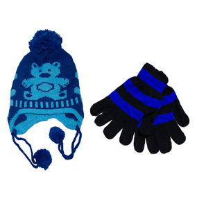 96eba7b1f2181 Luvas E Gorros Para O Inverno Infantil Azul Escuro