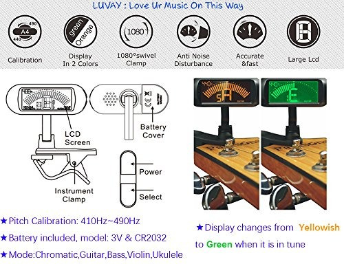 luvay clip-on tuner with guitar, bass, ukulele, violin, chr