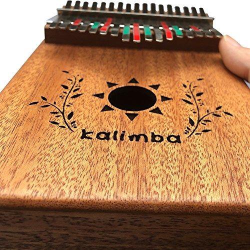 luvay kalimba 17 piano con llave y funda de caoba maciza