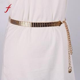 Luxo Cinto Dourado Sanfonado Metal Fashion Corrente