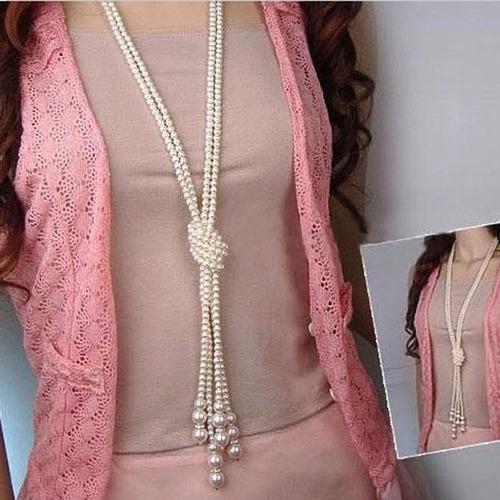 luxo colar perolas comprido com no fashion ponta strass