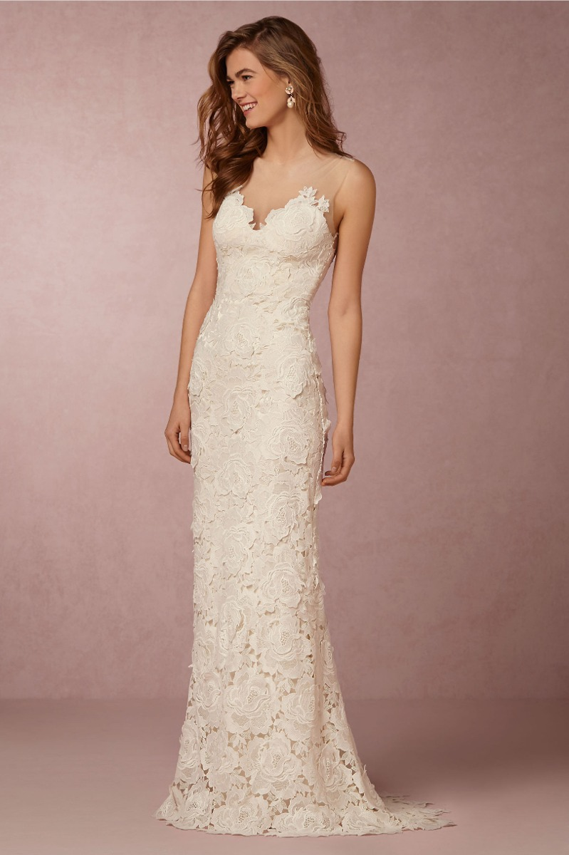 Luxo Vestido De Noiva Em Renda Guipir E Decote Em Tule