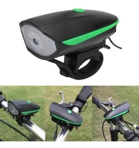 luz 250 lúmens real + bocina 140db usb recargable bicicleta