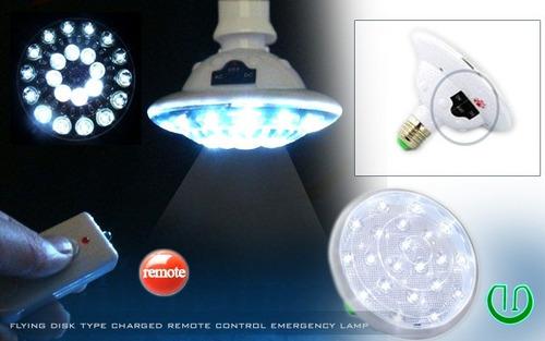 luz ampolleta emergencia 22 led, control remoto, recargable