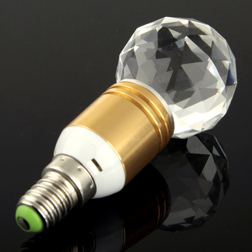 luz bola steep cristal e14 1w led amarillo crystal light ca