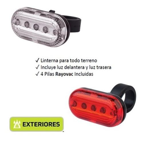 luz de bicicleta linterna 5 led delantera + trasera  + pilas