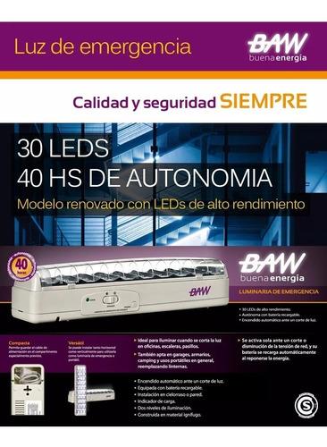 luz de emergencia 30 leds autonomia 40 horas hs baw led
