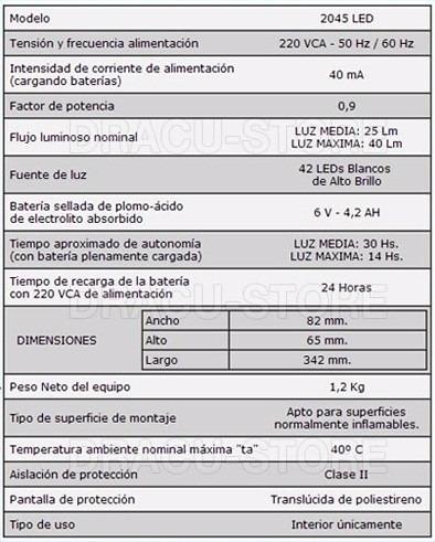 luz de emergencia atomlux 2045 42 leds de alto brillo 30 hs