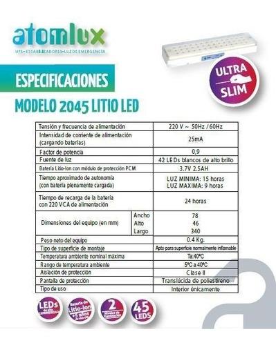 luz de emergencia atomlux 2045 litio led 42 leds 15 horas