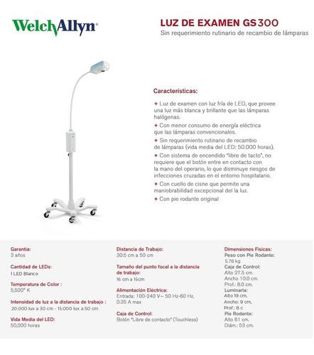 luz de examen welch allyn gs 300 con pie rodante led