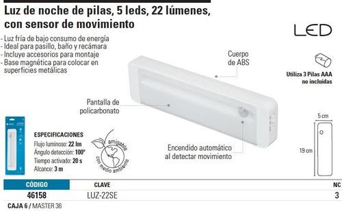 luz de noche de pilas, 5 leds con sensor de mo voltech 46158