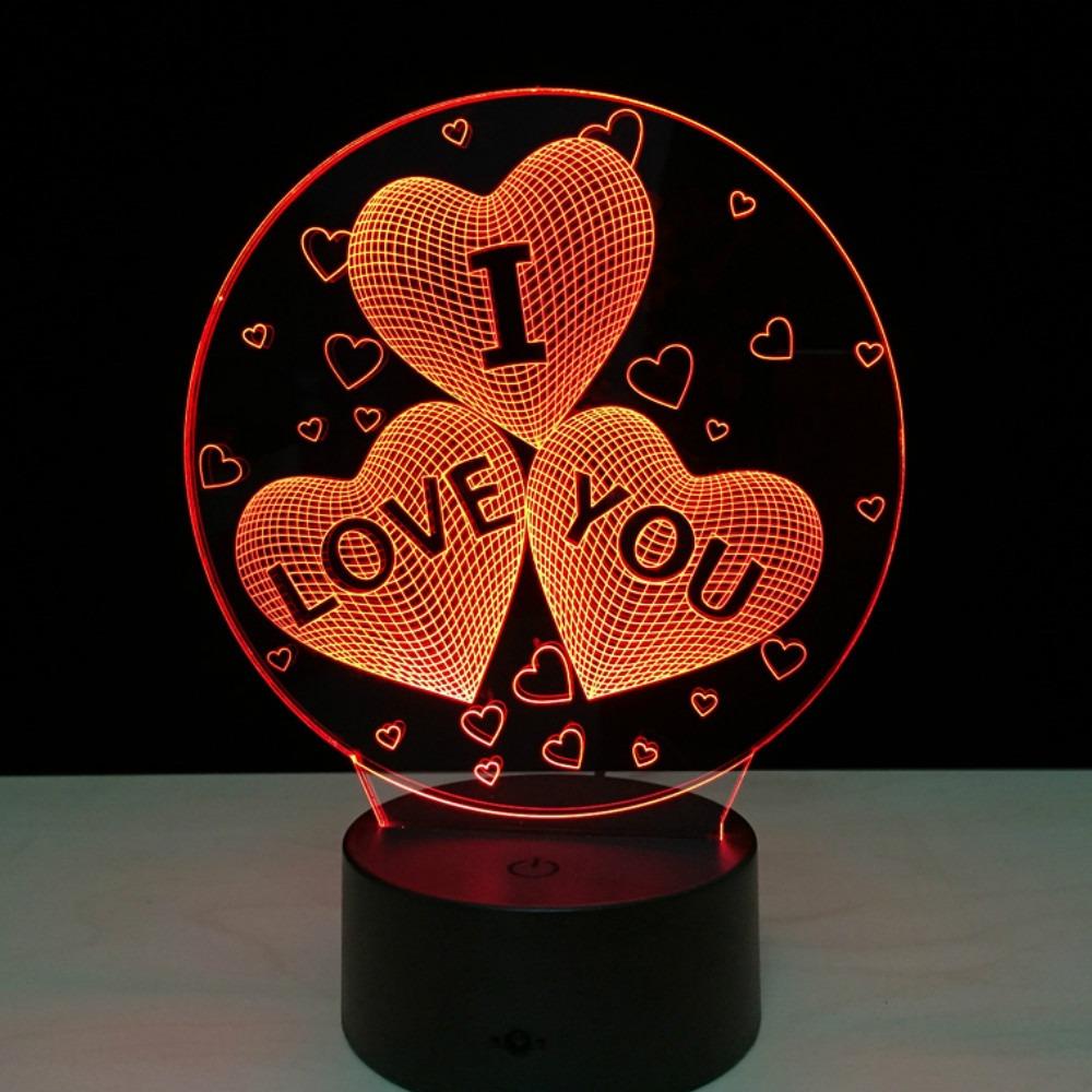 Luz De Noche Led 3d Cambia De 7 Colores Para San Valentín - $ 414.21 ...