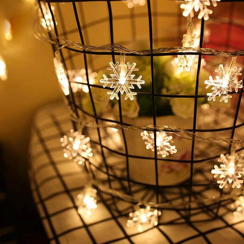 luz decorativa navidad 10m 70 forma led copo nieve blanca