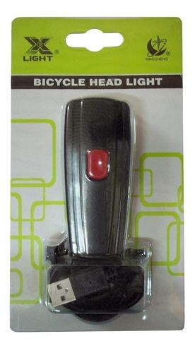 luz delantera para bicicleta recargable usb alto brillo