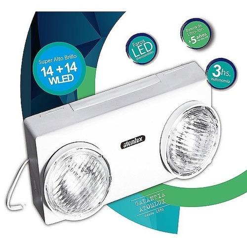 luz emergencia 2 luces 28w led atomlux 8014 3hs autonomia