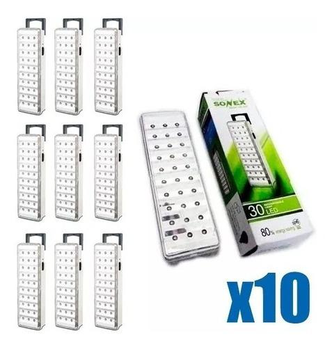 luz emergencia 30 leds autonomia 15 horas pack x 10