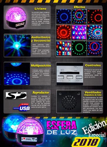 luz esfera disco rgb con entradas usb sd y reproductor xaris